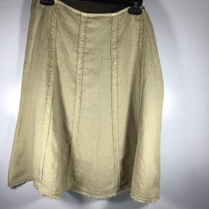Tommy Bahamas linen tan circle skirt with raw hem